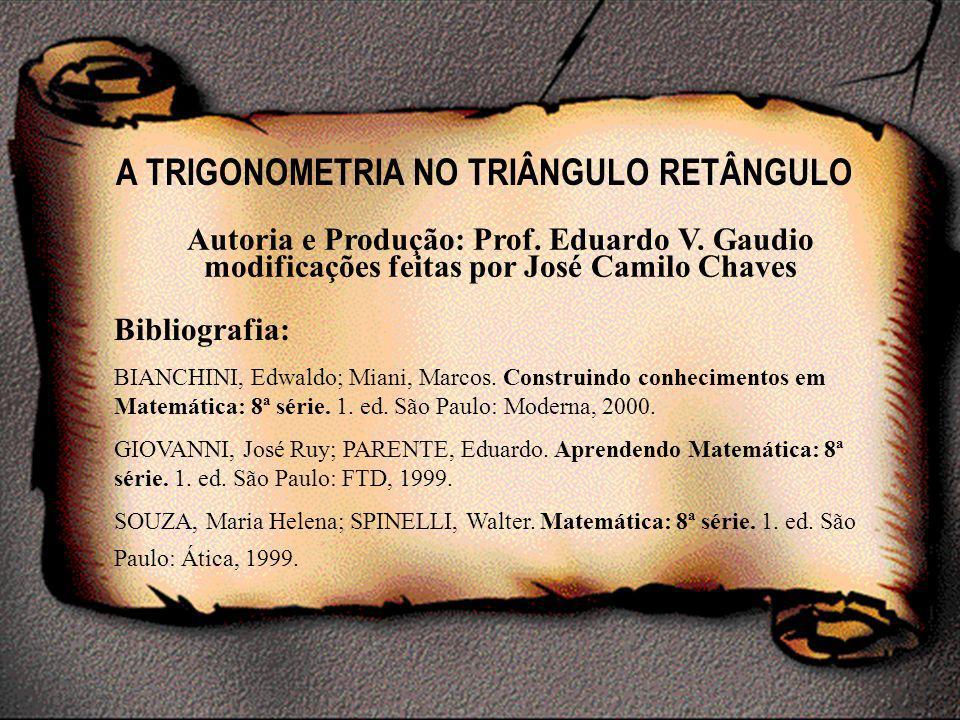 A TRIGONOMETRIA NO TRIÂNGULO RETÂNGULO Autoria e Produção: Prof. Eduardo V. Gaudio modificações feitas por José Camilo Chaves Bibliografia: BIANCHINI,