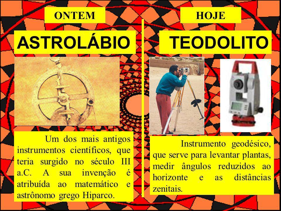 ASTROLÁBIOTEODOLITO Um dos mais antigos instrumentos científicos, que teria surgido no século III a.C. A sua invenção é atribuída ao matemático e astr