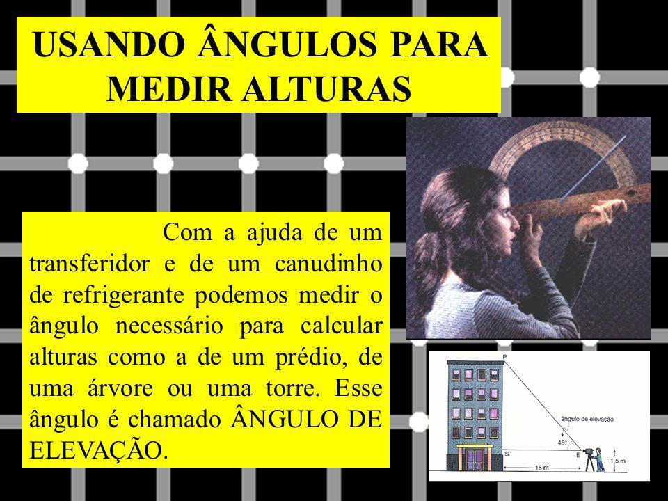USANDO ÂNGULOS PARA MEDIR ALTURAS Com a ajuda de um transferidor e de um canudinho de refrigerante podemos medir o ângulo necessário para calcular alt