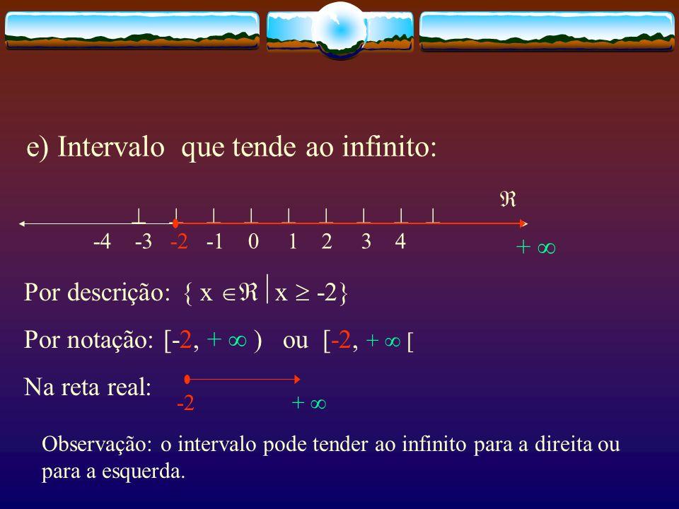 e) Intervalo que tende ao infinito: -4 -3 -2 -1 0 1 2 3 4 Por descrição: { x x -2} Por notação: [-2, + ) ou [-2, + [ Na reta real: -2 + + Observação: o intervalo pode tender ao infinito para a direita ou para a esquerda.