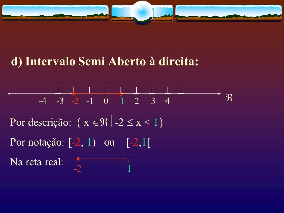 c) Intervalo Semi Aberto à esquerda: -4 -3 -2 -1 0 1 2 3 4 Por descrição: { x -2 < x 1} Por notação: (-2, 1] ou ]-2,1] Na reta real: -2 1