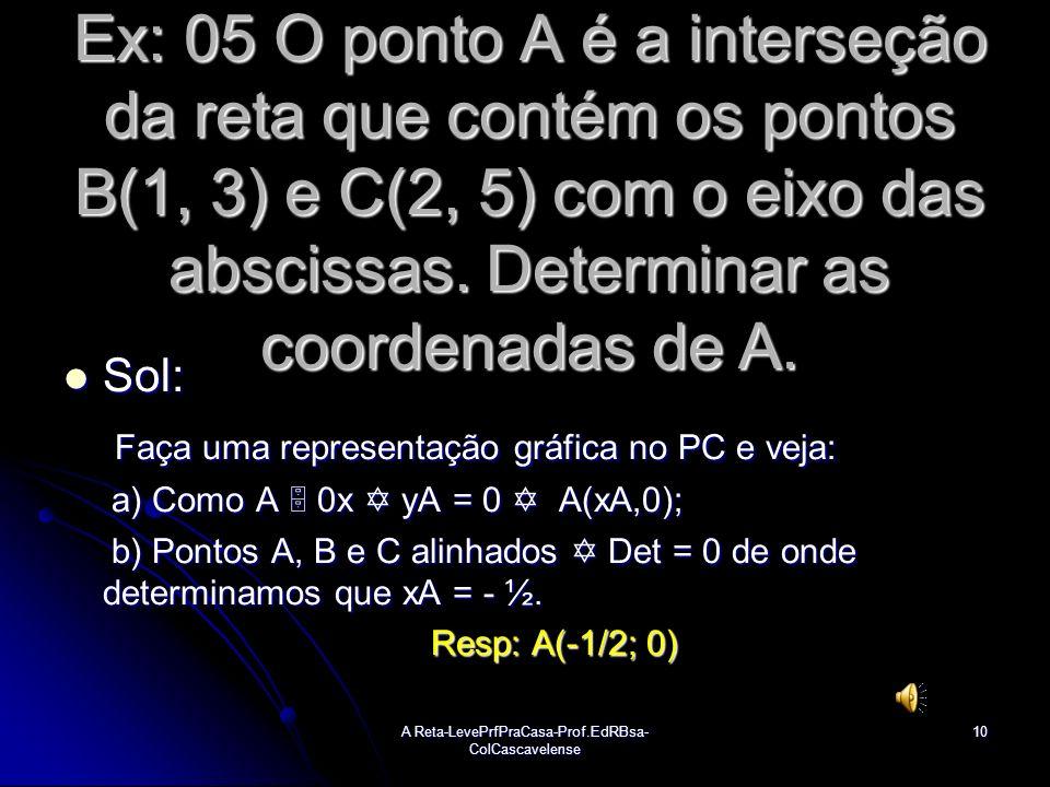 A Reta-LevePrfPraCasa-Prof.EdRBsa- ColCascavelense9 Ex:04 Os pontos A(-3,a), B(9, b) e C(1, -2) são colineares. Determine o valor de 2 a + b. Sol: Sol