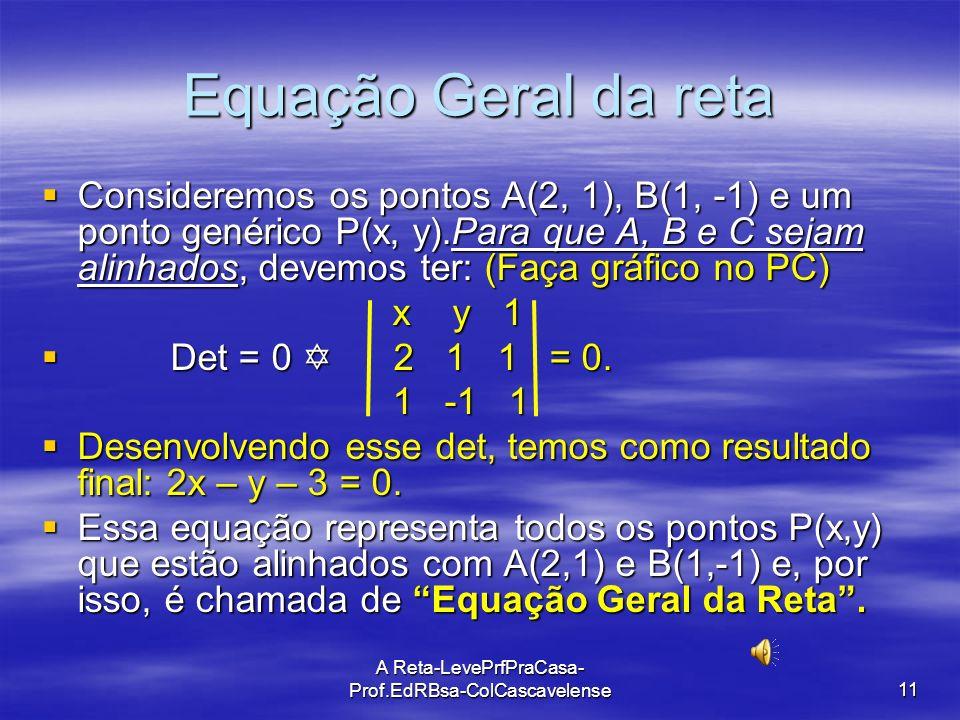 A Reta-LevePrfPraCasa-Prof.EdRBsa- ColCascavelense 10 Ex: 05 O ponto A é a interseção da reta que contém os pontos B(1, 3) e C(2, 5) com o eixo das ab