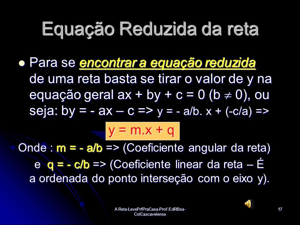 A Reta-LevePrfPraCasa-Prof.EdRBsa- ColCascavelense16 Ex:07 Determinar a equação geral da reta r em cada caso: a) a) Sol: Em ambos os itens, determine