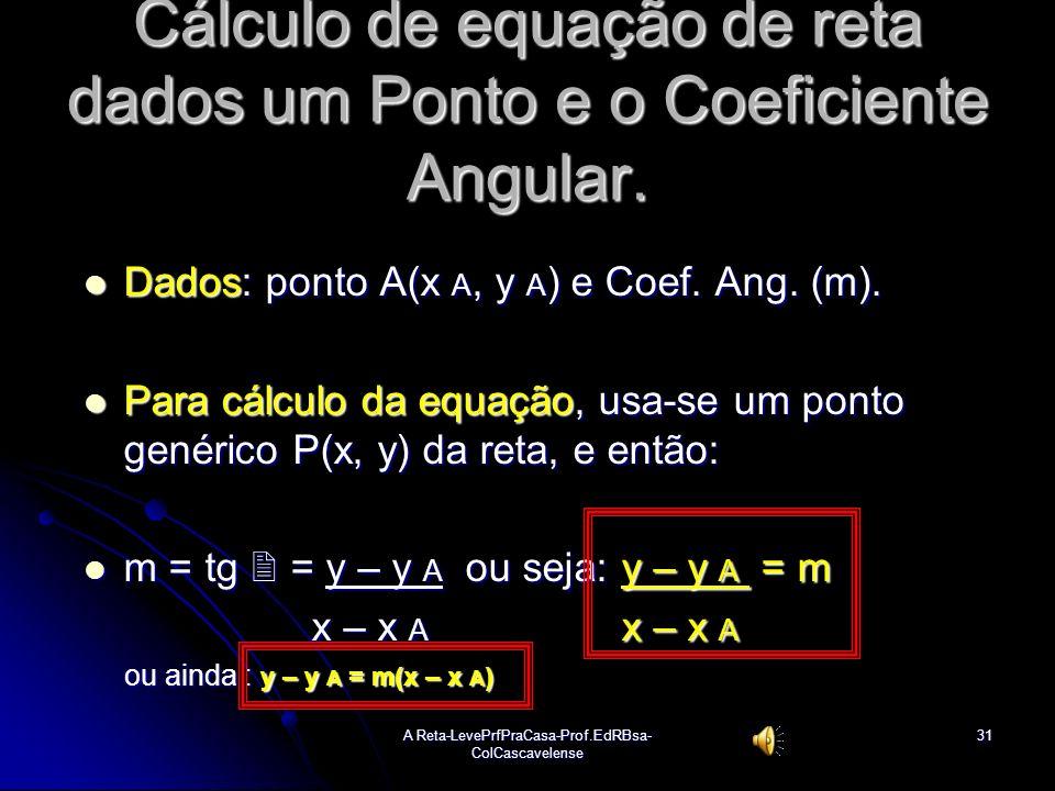 A Reta-LevePrfPraCasa-Prof.EdRBsa- ColCascavelense30 Ex:13 Determinar eq. geral e reduzida das retas dados dois pontos a) A(-3, -5) e B(-7, -8). Sol:C