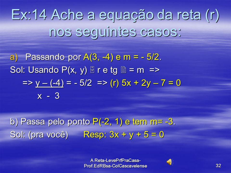 A Reta-LevePrfPraCasa-Prof.EdRBsa- ColCascavelense 31 Cálculo de equação de reta dados um Ponto e o Coeficiente Angular. Dados: ponto A(x A, y A ) e C