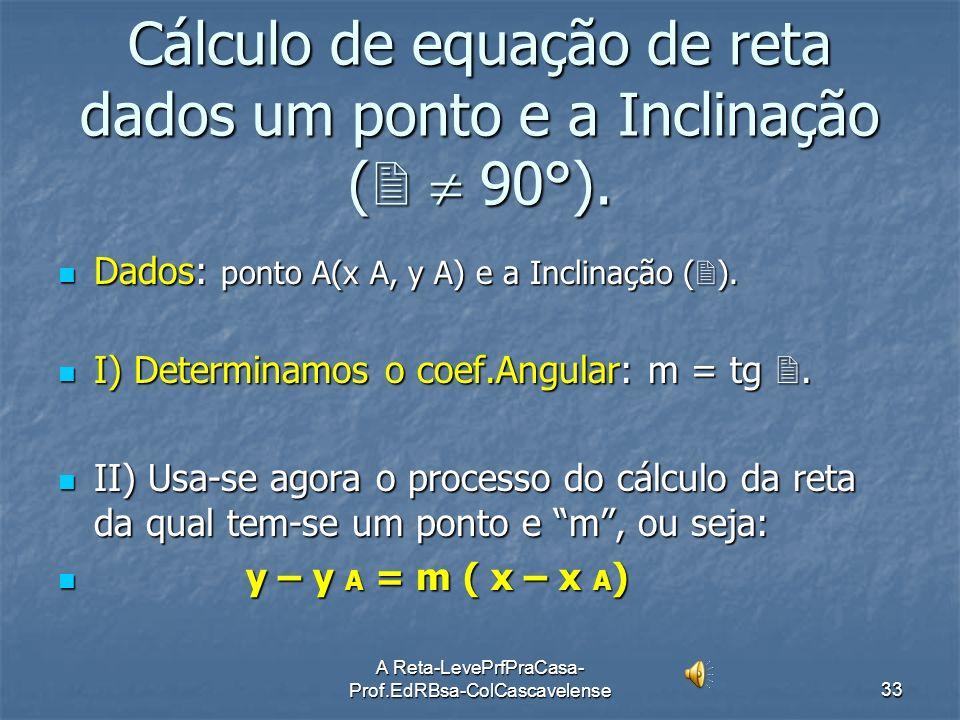A Reta-LevePrfPraCasa- Prof.EdRBsa-ColCascavelense32 Ex:14 Ache a equação da reta (r) nos seguintes casos: a)Passando a)Passando por A(3, -4) e m = -