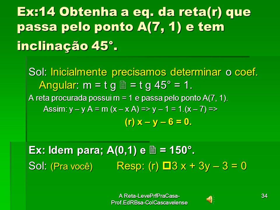 A Reta-LevePrfPraCasa- Prof.EdRBsa-ColCascavelense33 Cálculo de equação de reta dados um ponto e a Inclinação ( 90°). Dados: Dados: ponto A(x A, y A)