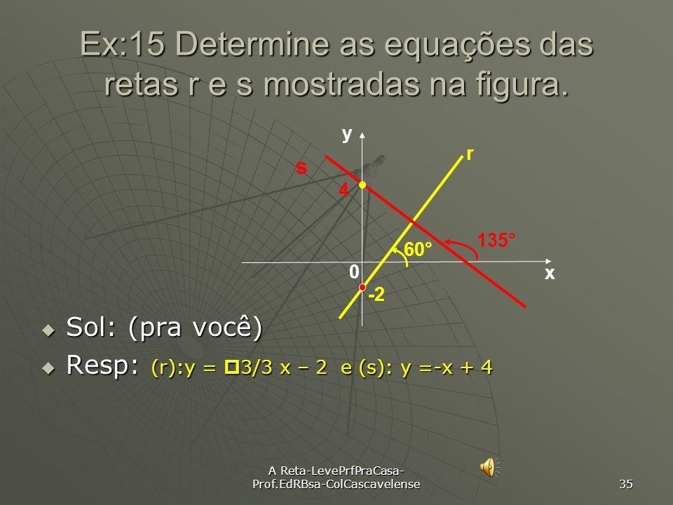 A Reta-LevePrfPraCasa- Prof.EdRBsa-ColCascavelense 34 Ex:14 Obtenha a eq. da reta(r) que passa pelo ponto A(7, 1) e tem inclinação 45°. Sol: Inicialme