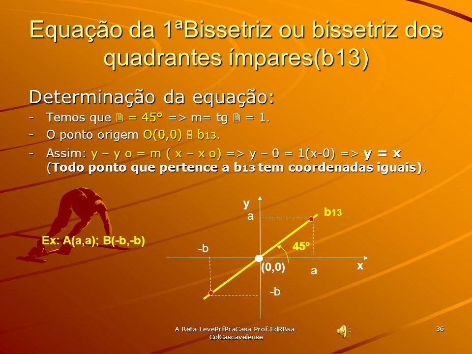 A Reta-LevePrfPraCasa- Prof.EdRBsa-ColCascavelense 35 Ex:15 Determine as equações das retas r e s mostradas na figura. Sol: (pra você) Sol: (pra você)