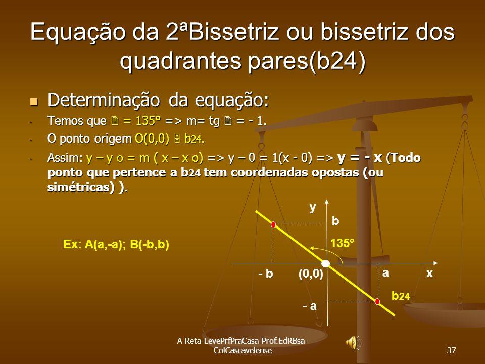 A Reta-LevePrfPraCasa-Prof.EdRBsa- ColCascavelense 36 Equação da 1ªBissetriz ou bissetriz dos quadrantes ímpares(b13) Determinação da equação: -Temos