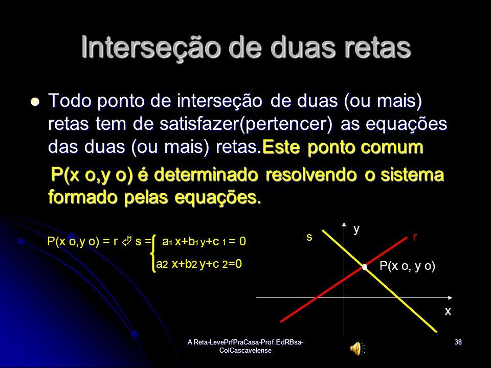 A Reta-LevePrfPraCasa-Prof.EdRBsa- ColCascavelense37 Equação da 2ªBissetriz ou bissetriz dos quadrantes pares(b24) Determinação da equação: Determinaç