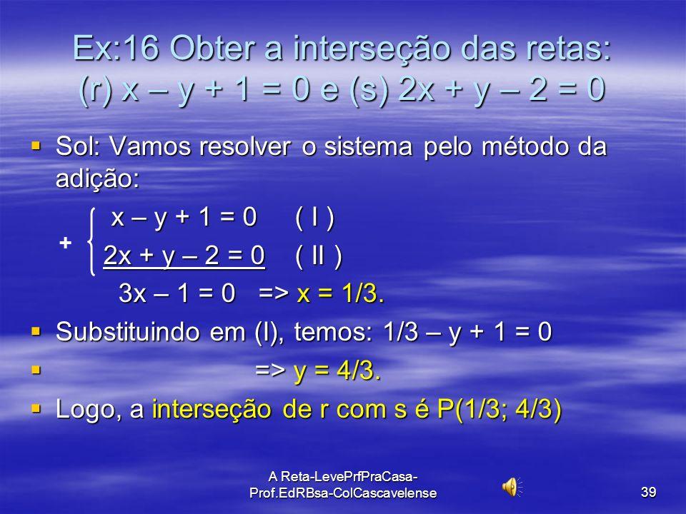 A Reta-LevePrfPraCasa-Prof.EdRBsa- ColCascavelense 38 Interseção de duas retas Todo ponto de interseção de duas (ou mais) retas tem de satisfazer(pert