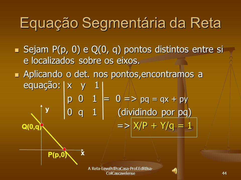 A Reta-LevePrfPraCasa-Prof.EdRBsa- ColCascavelense 43 Ex:19 Verificar se as retas 2x - 3y - 7= 0; 3x – y - 14 = 0 e x - 3y – 8 = 0 concorrem no mesmo