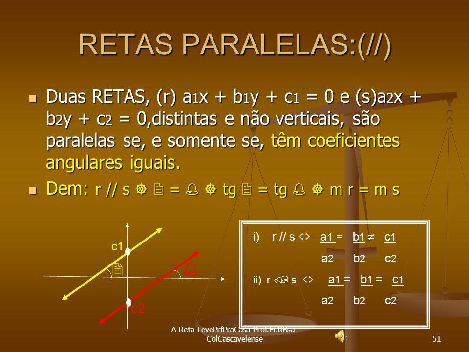 A Reta-LevePrfPraCasa-Prof.EdRBsa- ColCascavelense 50 Exercícios de Revisão Ex:26 Determinar: a) a equação geral b) a equação reduzida; c) a equação s