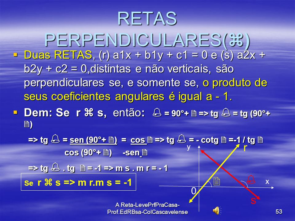 A Reta-LevePrfPraCasa-Prof.EdRBsa- ColCascavelense 52 RETAS CONCORRENTES:(X) Duas RETAS, (r) a 1 x + b 1 y + c 1 = 0 e (s)a 2 x + b 2 y + c 2 = 0, ela