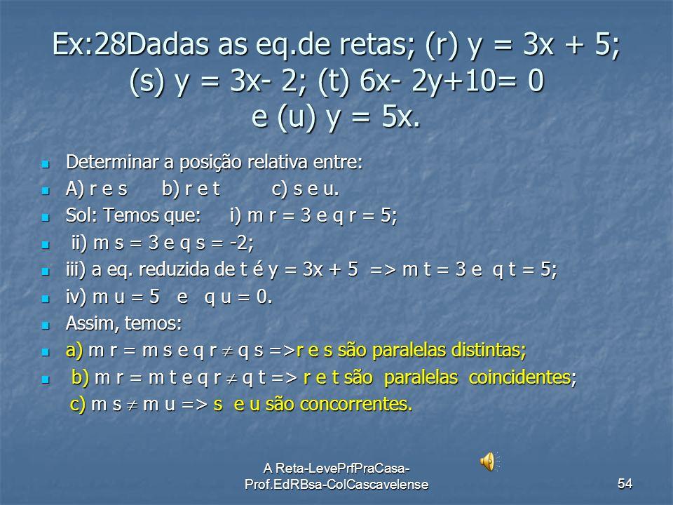 A Reta-LevePrfPraCasa- Prof.EdRBsa-ColCascavelense53 RETAS PERPENDICULARES() Duas RETAS, (r) a1x + b1y + c1 = 0 e (s) a2x + b2y + c2 = 0,distintas e n