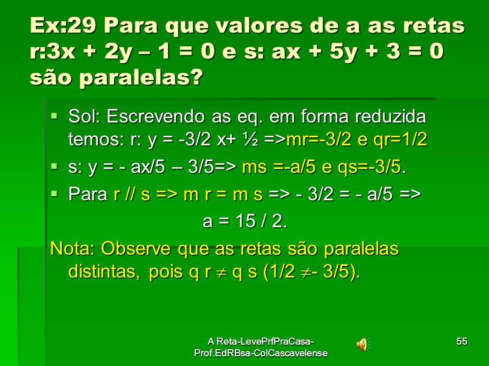 A Reta-LevePrfPraCasa- Prof.EdRBsa-ColCascavelense54 Ex:28Dadas as eq.de retas; (r) y = 3x + 5; (s) y = 3x- 2; (t) 6x- 2y+10= 0 e (u) y = 5x. Determin