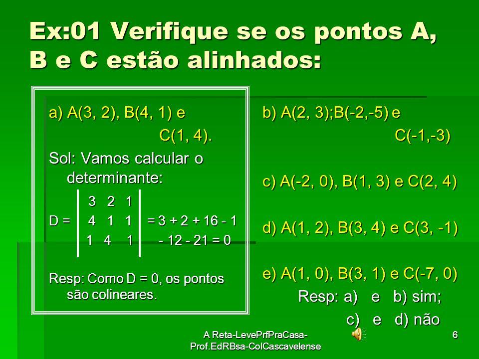 A Reta-LevePrfPraCasa- Prof.EdRBsa-ColCascavelense5 OBS: Dois pontos estão sempre alinhados Três pontos distintos podem: Três pontos distintos podem: