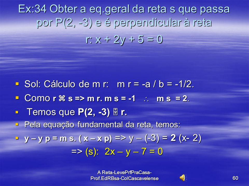 A Reta-LevePrfPraCasa-Prof.EdRBsa- ColCascavelense 59 Ex:33 Obter a eq. reduzida da reta r que passa por P(4, 6) e é perpendicular à reta do gráfico..