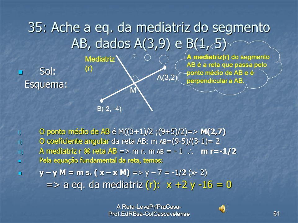 A Reta-LevePrfPraCasa- Prof.EdRBsa-ColCascavelense60 Ex:34 Obter a eq.geral da reta s que passa por P(2, -3) e é perpendicular à reta r: x + 2y + 5 =