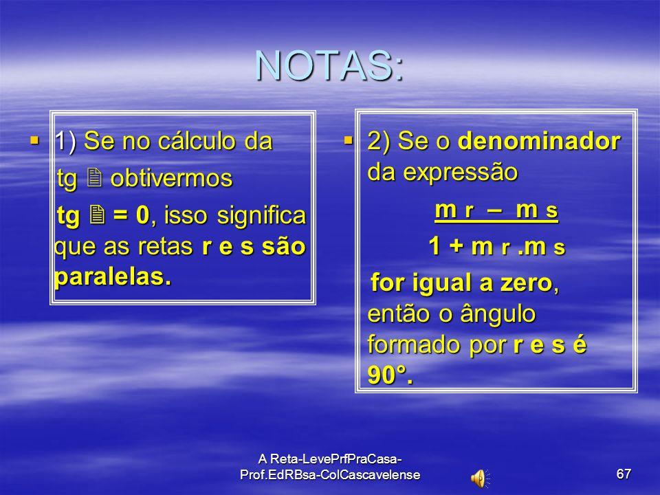 A Reta-LevePrfPraCasa-Prof.EdRBsa- ColCascavelense 66 ÂNGULO ENTRE DUAS RETAS Sejam as retas r e s, e o ângulo agudo entre elas a)Retas não verticais