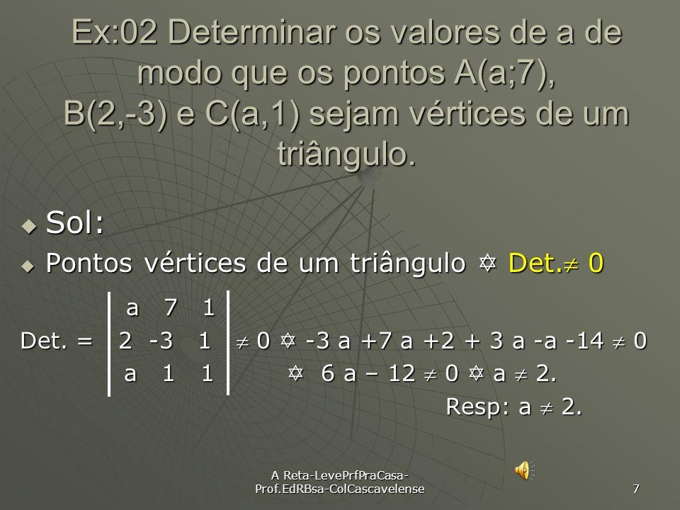 A Reta-LevePrfPraCasa- Prof.EdRBsa-ColCascavelense 6 Ex:01 Verifique se os pontos A, B e C estão alinhados: a) A(3, 2), B(4, 1) e C(1, 4). C(1, 4). So
