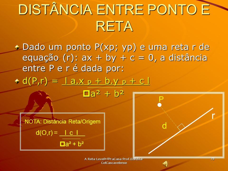 A Reta-LevePrfPraCasa-Prof.EdRBsa- ColCascavelense 71 Ex: 43 Determine a eq da reta r que passa por P(-1, 4) e forma ângulo de 45° com a reta s:4x +y