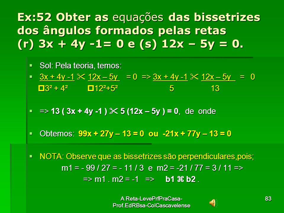 A Reta-LevePrfPraCasa- Prof.EdRBsa-ColCascavelense82 Retas Bissetrizes (b1 e b2) dos ângulos entre duas Retas Concorrentes (r e s) y P(x p,y p) s r x