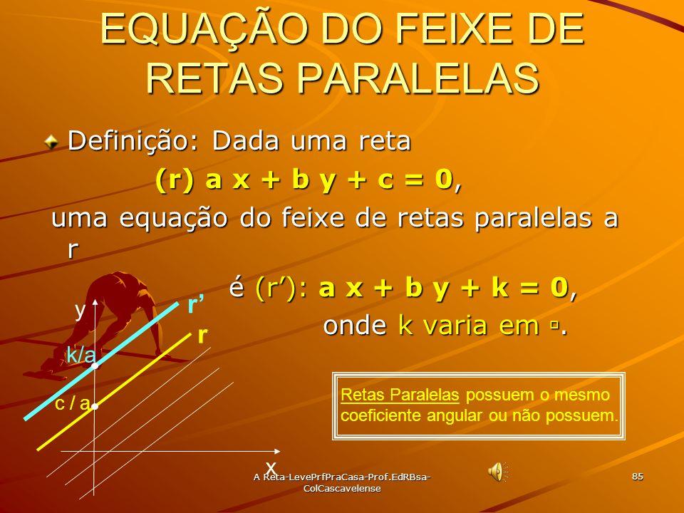 A Reta-LevePrfPraCasa- Prof.EdRBsa-ColCascavelense 84 Ex:53 Qual é a bissetriz do ângulo agudo formado pelas retas r: 2x + 3y -1 =0 e s: 3x +2y + 1 =