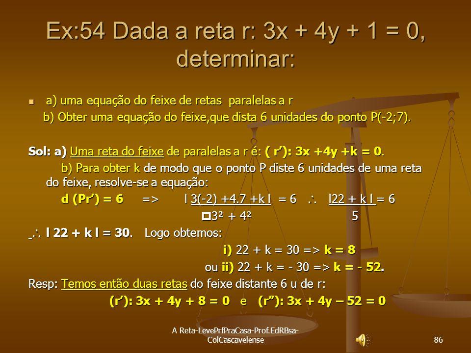 A Reta-LevePrfPraCasa-Prof.EdRBsa- ColCascavelense 85 EQUAÇÃO DO FEIXE DE RETAS PARALELAS Definição: Dada uma reta (r) a x + b y + c = 0, (r) a x + b