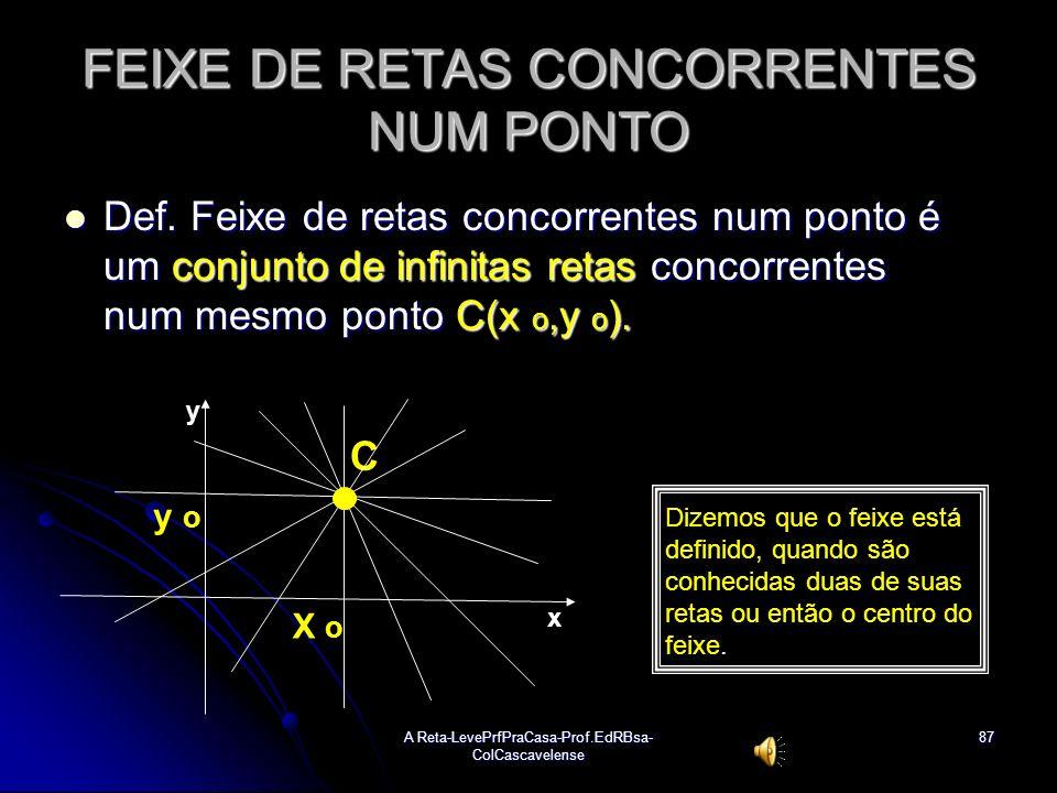 A Reta-LevePrfPraCasa-Prof.EdRBsa- ColCascavelense86 Ex:54 Dada a reta r: 3x + 4y + 1 = 0, determinar: a) uma equação do feixe de retas paralelas a r