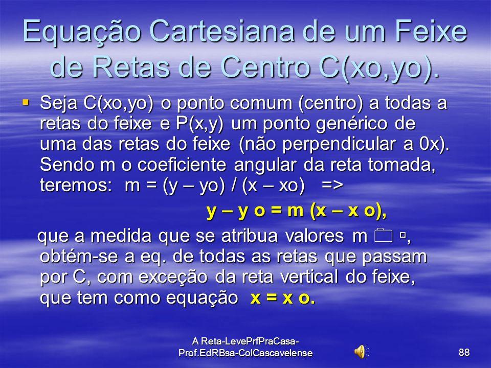 A Reta-LevePrfPraCasa-Prof.EdRBsa- ColCascavelense 87 FEIXE DE RETAS CONCORRENTES NUM PONTO Def. Feixe de retas concorrentes num ponto é um conjunto d