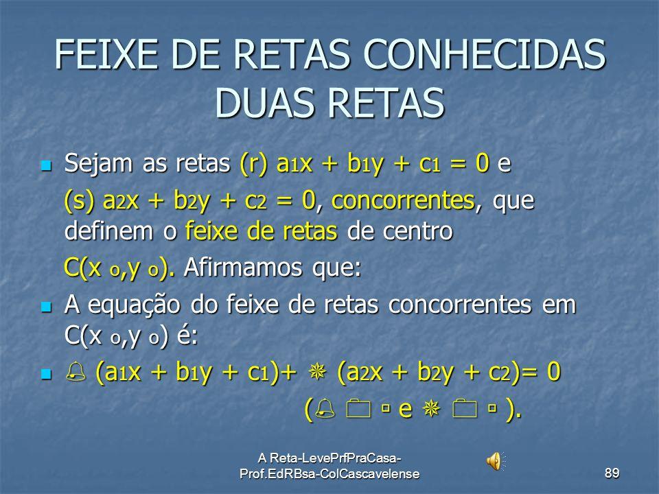 A Reta-LevePrfPraCasa- Prof.EdRBsa-ColCascavelense88 Equação Cartesiana de um Feixe de Retas de Centro C(xo,yo). Seja C(xo,yo) o ponto comum (centro)