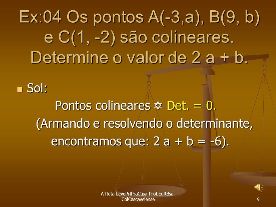 A Reta-LevePrfPraCasa-Prof.EdRBsa- ColCascavelense 8 Ex:03 Determinar m para que os pontos A(-1,m); B(2, -3) e C(-4, 5): A) estejam alinhados Sol: Pon