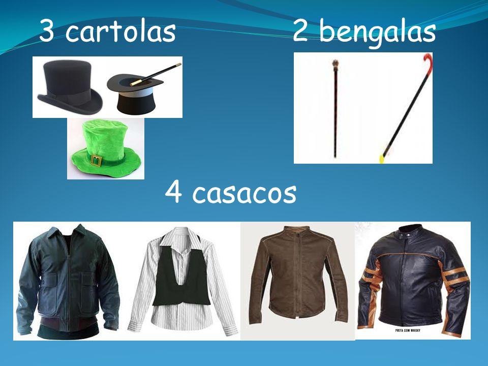 3 cartolas2 bengalas 4 casacos