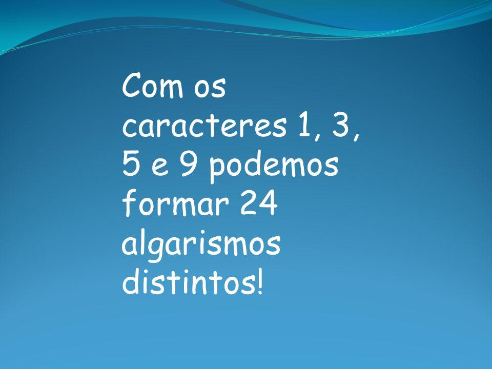 Com os caracteres 1, 3, 5 e 9 podemos formar 24 algarismos distintos!