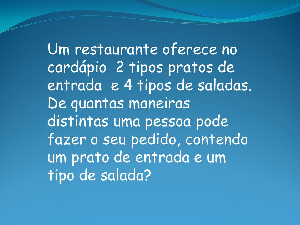 Um restaurante oferece no cardápio 2 tipos pratos de entrada e 4 tipos de saladas.