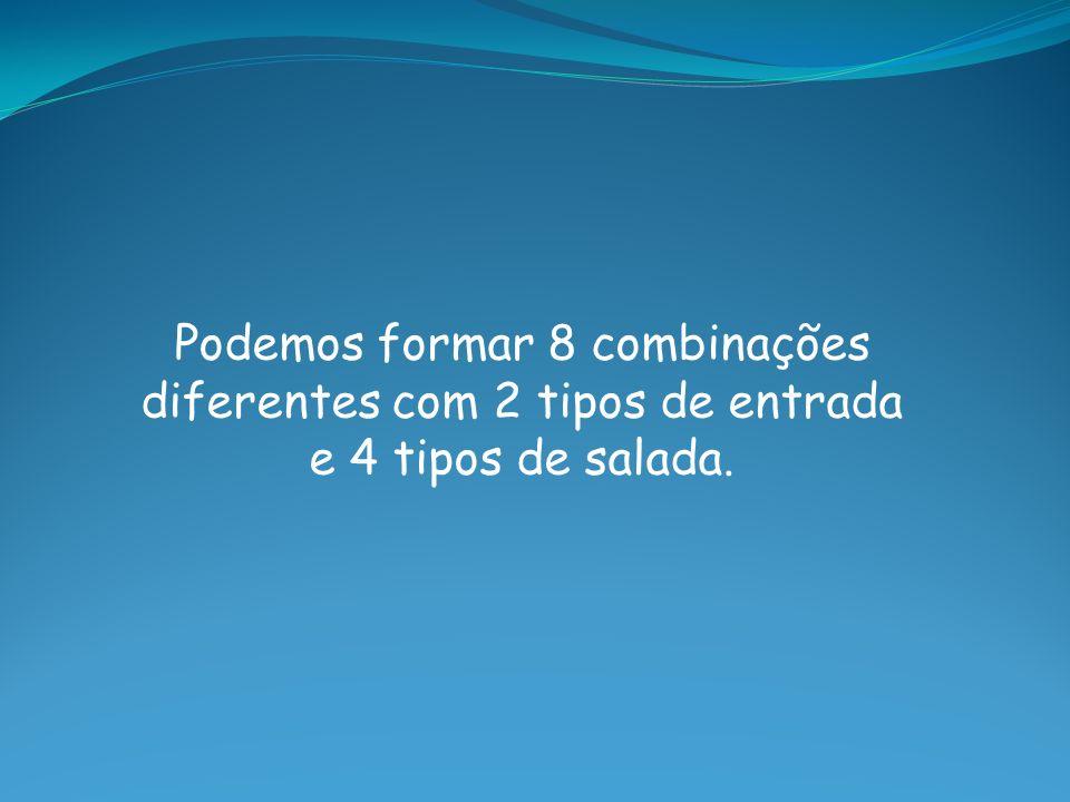 Podemos formar 8 combinações diferentes com 2 tipos de entrada e 4 tipos de salada.