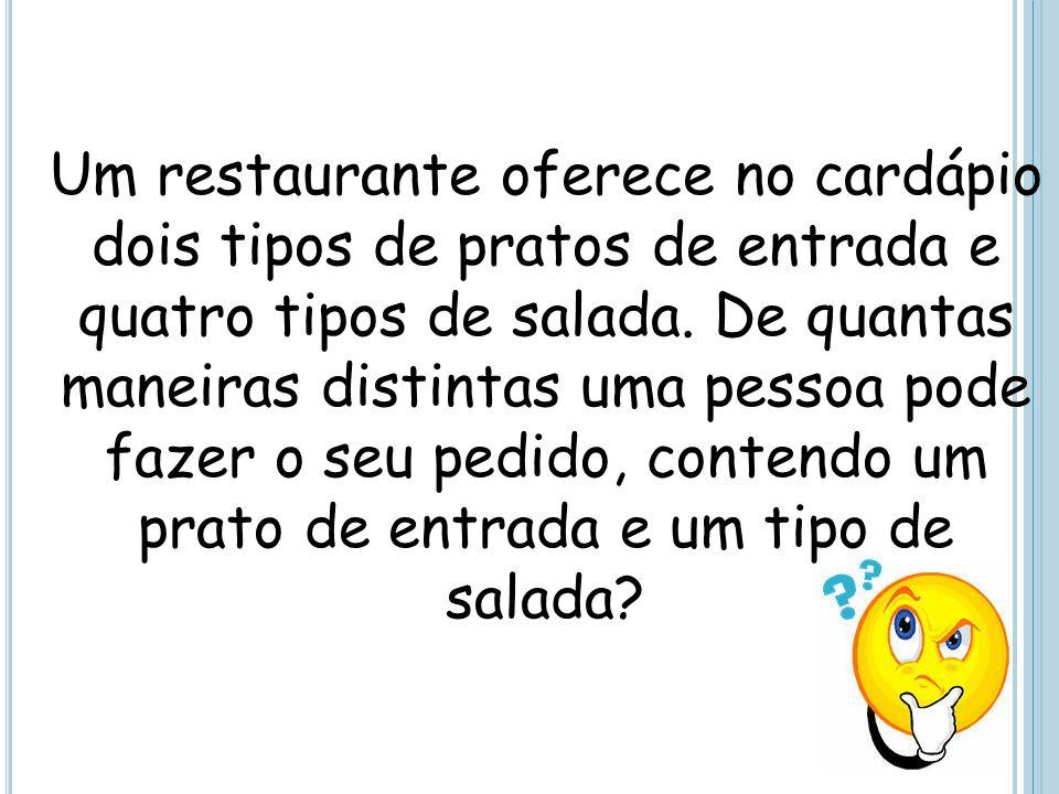Um restaurante oferece no cardápio dois tipos de pratos de entrada e quatro tipos de salada. De quantas maneiras distintas uma pessoa pode fazer o seu