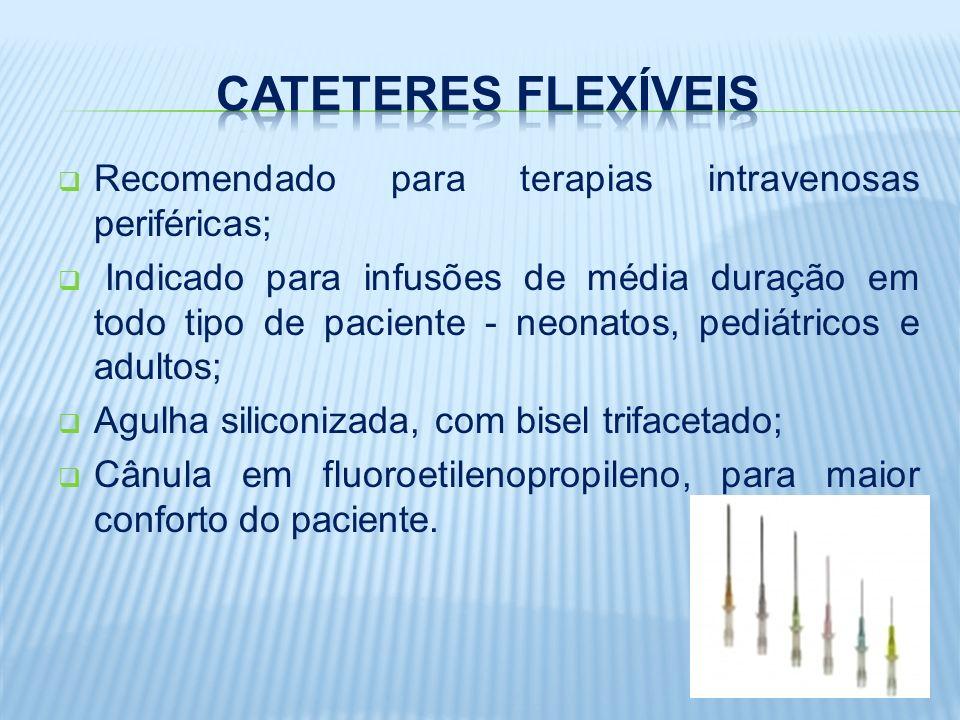 Recomendado para terapias intravenosas periféricas; Indicado para infusões de média duração em todo tipo de paciente - neonatos, pediátricos e adultos