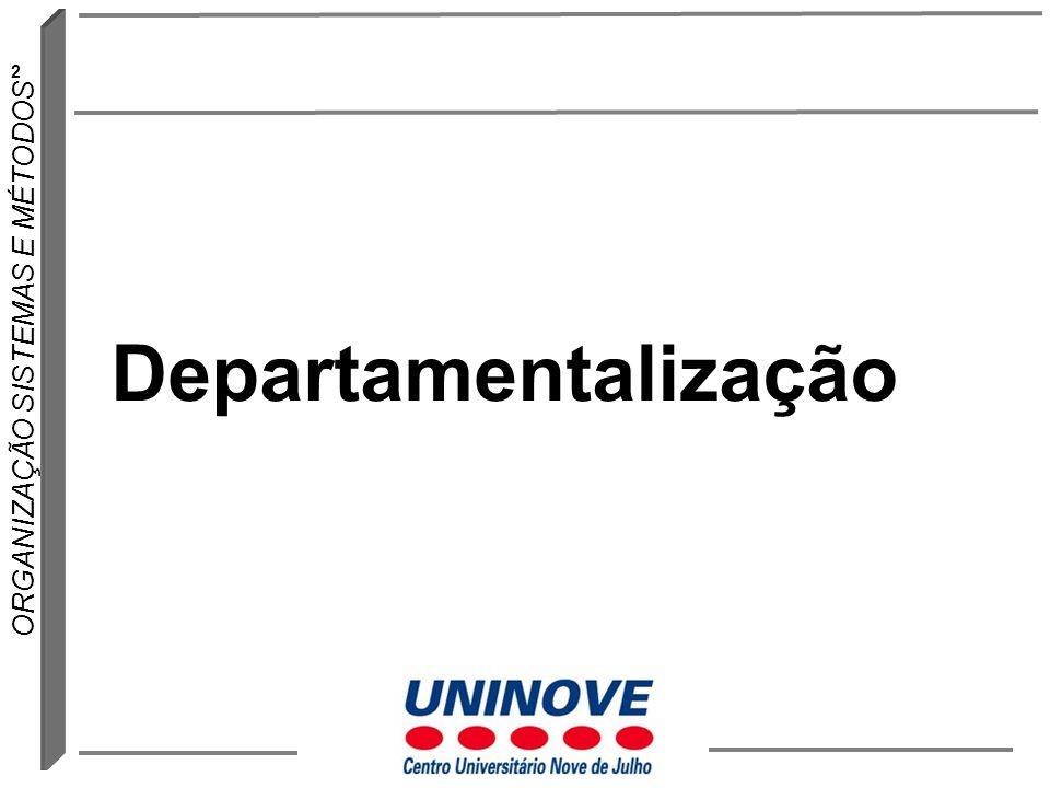 23 ORGANIZAÇÃO SISTEMAS E MÉTODOS Departamentalização por projeto Neste arranjo as atividades e as pessoas recebem atribuições temporárias.
