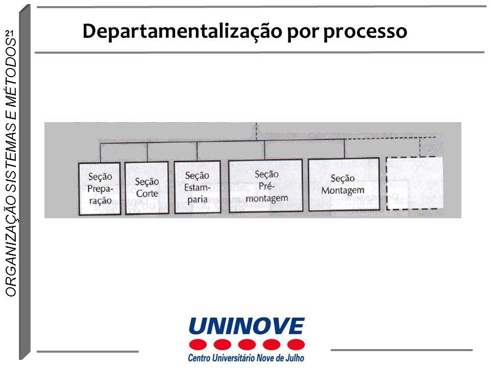 21 ORGANIZAÇÃO SISTEMAS E MÉTODOS Departamentalização por processo