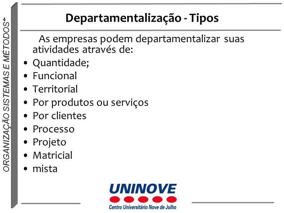 4 ORGANIZAÇÃO SISTEMAS E MÉTODOS Departamentalização - Tipos As empresas podem departamentalizar suas atividades através de: Quantidade; Funcional Ter