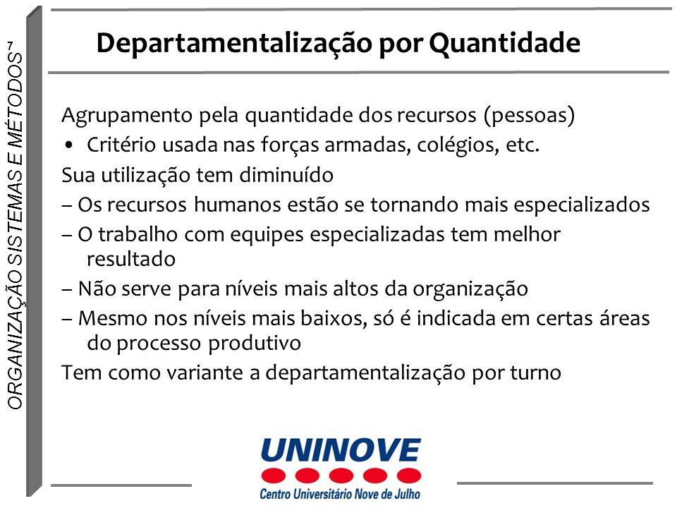 18 ORGANIZAÇÃO SISTEMAS E MÉTODOS Departamentalização por clientes