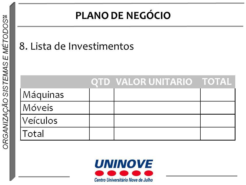 25 ORGANIZAÇÃO SISTEMAS E MÉTODOS PLANO DE NEGÓCIO 8. Lista de Investimentos