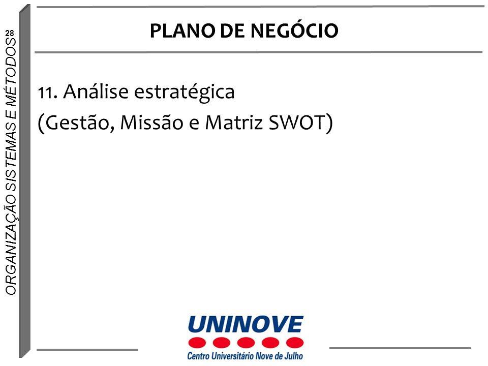 28 ORGANIZAÇÃO SISTEMAS E MÉTODOS PLANO DE NEGÓCIO 11. Análise estratégica (Gestão, Missão e Matriz SWOT)