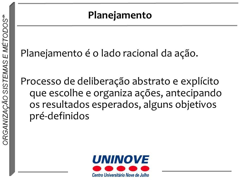6 ORGANIZAÇÃO SISTEMAS E MÉTODOS Planejamento Planejamento é o lado racional da ação. Processo de deliberação abstrato e explícito que escolhe e organ