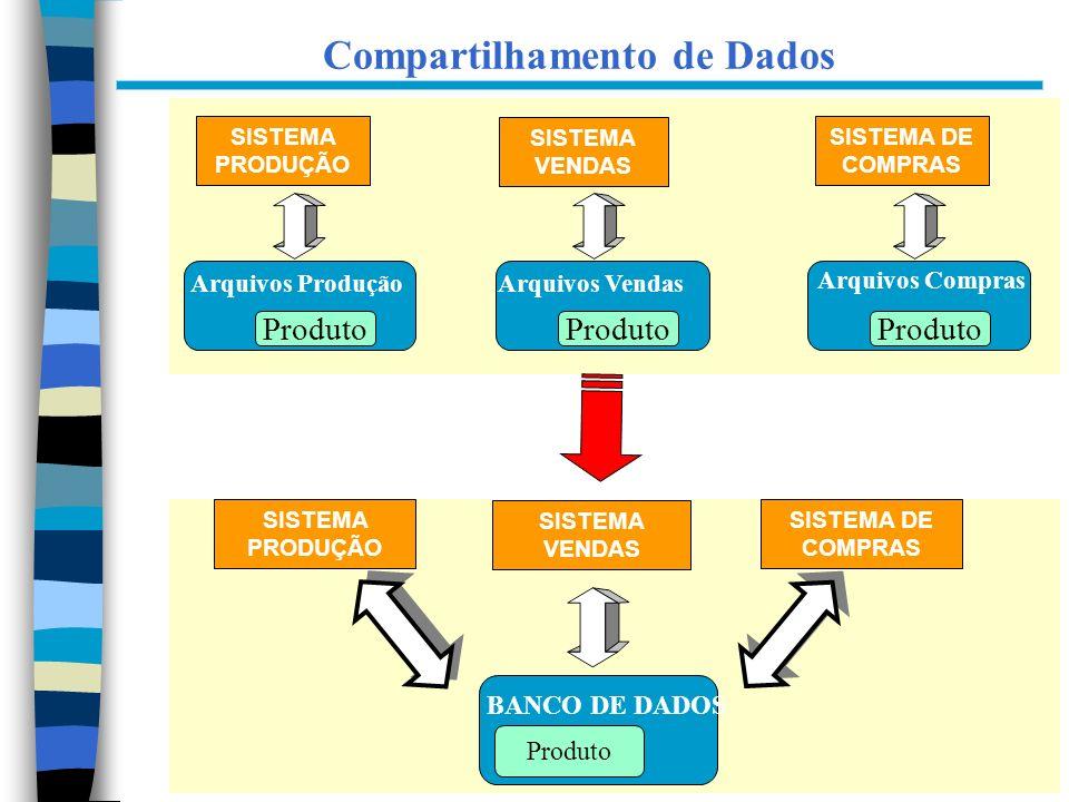 11 Compartilhamento de Dados SISTEMA PRODUÇÃO SISTEMA VENDAS SISTEMA DE COMPRAS Arquivos ProduçãoArquivos Vendas Arquivos Compras Produto SISTEMA VEND