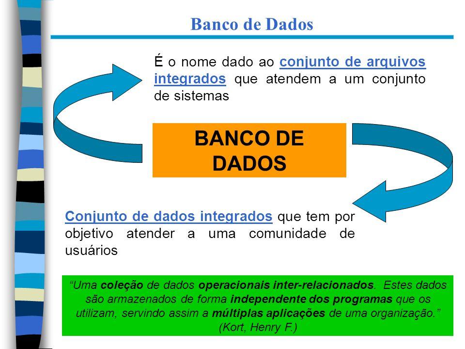 12 BANCO DE DADOS É o nome dado ao conjunto de arquivos integrados que atendem a um conjunto de sistemas Conjunto de dados integrados que tem por obje
